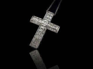 Diamonds Cross necklace on black background