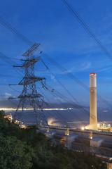 Power plant at dusk