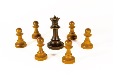 A Black Queen and White Pawns