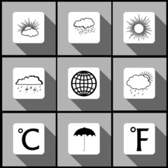 Weather icon set with long shadow