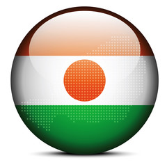 Map with Dot Pattern on flag button of Republic  Niger