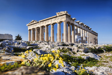 Spoed Fotobehang Athene Parthenon temple on the Athenian Acropolis in Greece