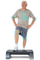 Composite image of full length portrait of a senior man
