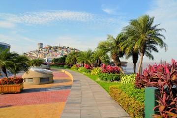 Seaside Malecon 2000 walkway with Santa Ana Hill, Ecuador
