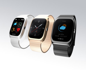 Smart watches with different apps on gray background
