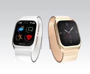 Smart watches on gray background