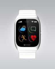 Silver smart watch with simple icons design.