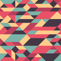 Abstract colorful seamless pattern with pyramids and cubes.