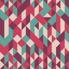 Abstract seamless pattern with cubes and triangles.