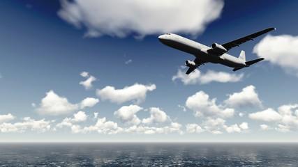 Airliner flies over ocean 3