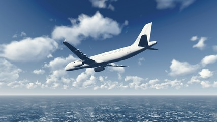 Airliner flies over ocean 5