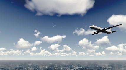 Airliner flies over ocean 2