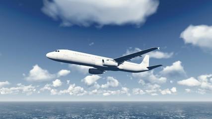 Airliner flies over ocean 4