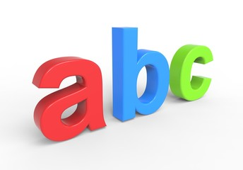 Abc text isolated over white.