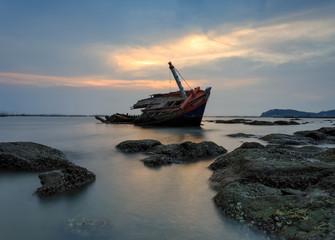 Garden Poster Shipwreck The wrecked ship , Thailand