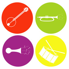 monochrome icon set with drum guitar tube