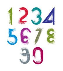 Calligraphic brush numbers, hand-painted bright vector numeratio