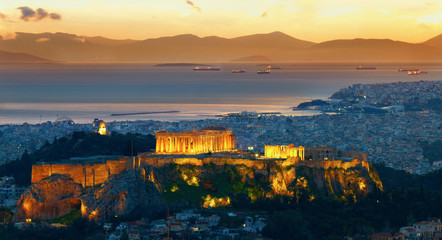 Spoed Fotobehang Athene Panorama of Athens, Greece. After sunset. Parthenon and Herodium