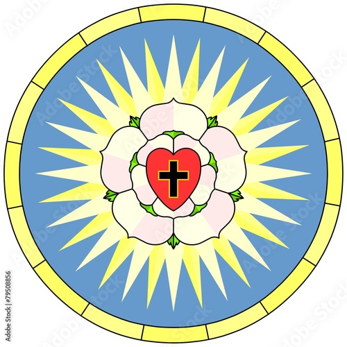 Luther Rose Christian Symbol Circular Window Stock Image And