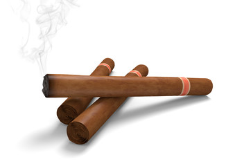 Cigars on a white background, with one emitting smoke