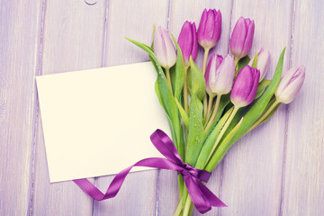 Purple tulip bouquet and greeting card