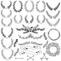 Vector Collection of Black Line Laurels, Floral Elements