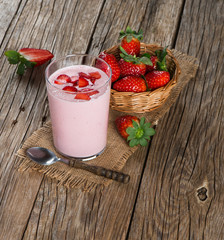 Fresh strawberry fruits and smoothie