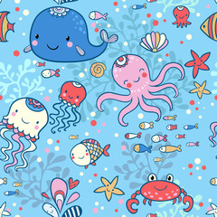 Cartoon marine seamless pattern for wallpapers.