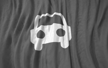Car symbol corrugated realistic  gray flag 3d illustration