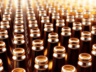 Background Made From Empty Beer Brown Bottles