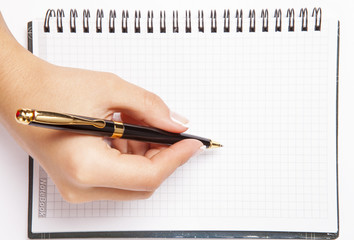pen in hand isolated white background