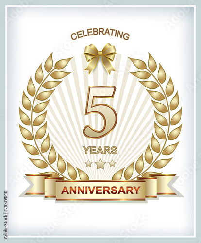 Greeting Card With The 5th Anniversary Stock Image And Royalty Free