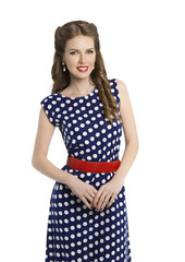 Woman in Polka Dot Dress, Retro Girl Pin Up Hair Beauty Style