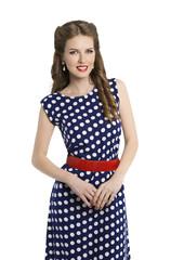 Woman in Polka Dot Dress, Retro Girl Pin Up Hair Beauty Style