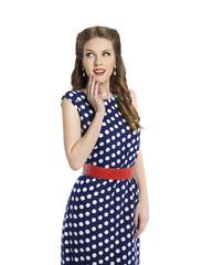 Woman in Polka Dot Dress, Retro Girl Pin Up Beauty Hair Style