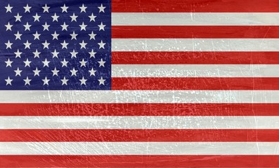 National flag USA on wood texture background
