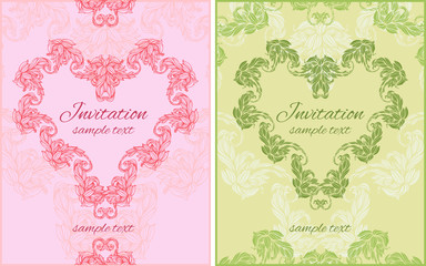 set of two cards with floral ornament in shape