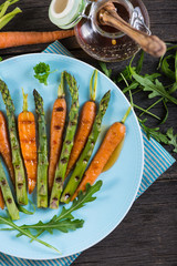 grilled fresh carrots and asparagus with glaze from above