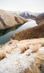 Reservoir Snake River Canyon Cold Frozen Snow Winter Travel Land