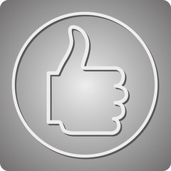 Thumbs Up Icon on a gray background, with shadow.