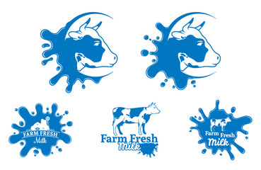 Cow Logo, Trade Sign, Icon Template for Diary Products