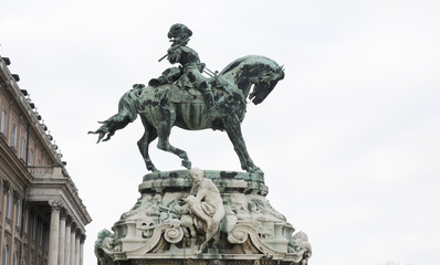 Bronze statue of a warrior riding horse in Budapest