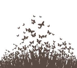 butterflies and grass vector silhouette