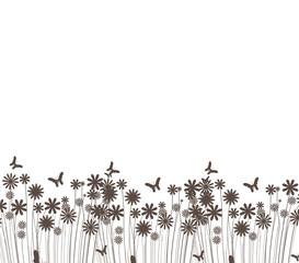 grass and butterflies vector silhouette