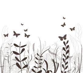 grass vector silhouette and butterflies