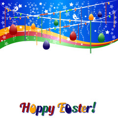Background for Easter with colored eggs on garland