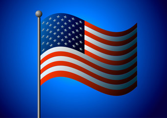 Vector illustration. American flag on a blue background.