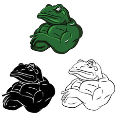 Coloring book Frog Strong cartoon character