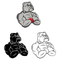Coloring book Bulldog strong cartoon character