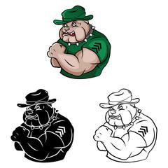 Coloring book Bulldog Security cartoon character
